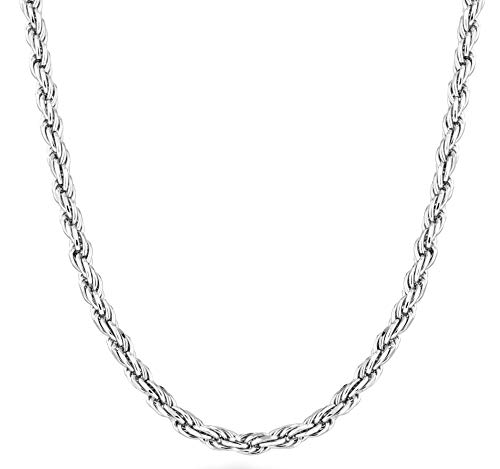 MiaBella Sterling Silver Italian 3mm Solid Diamond-Cut Braided Rope Chain Necklace Bracelet for Men Women 925 Italy 7, 7.5, 8, 8.5, 9,16, 18, 20, 22, 24, 26, 28, 30 Inch (30)
