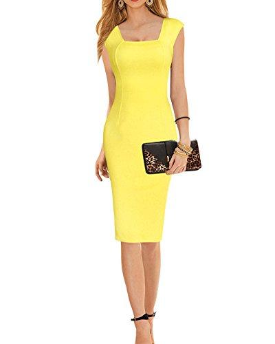 SaiDeng Vestido De Sin Manga Sin Tirantes Ajustado Volante Dress Para Fiesta Cóctel Mujer Amarillo