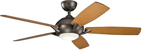 Kichler 330001OZ Geno 54 Ceiling Fan with LED Light and Remote Control, Olde Bronze