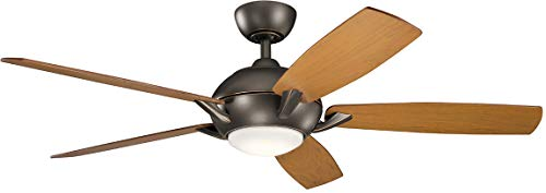 Kichler Lighting 330001OZ Geno-54 Ceiling Fan with Light Kit, Walnut/Cherry Blade Finish, 54 inches, Olde Bronze ()
