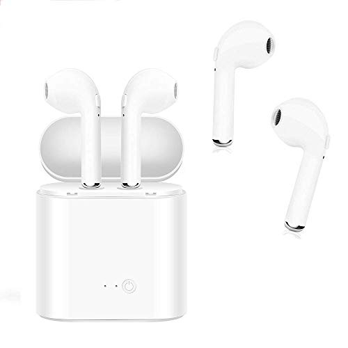 Wireless Bluetooth Headset,HD Stereo Bass in-Ear Wireless Headphones,Hands-Free Calling Earphones Sport Driving Earbuds Built-in-Mic&Charging Case Compatible with iOS and Android Smartphone Tablet