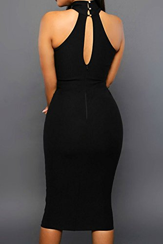 faf7672dd349 Sexy Womens Mock Neck Sheer Peep Hole Party Club Midi Dress (Large, Black)