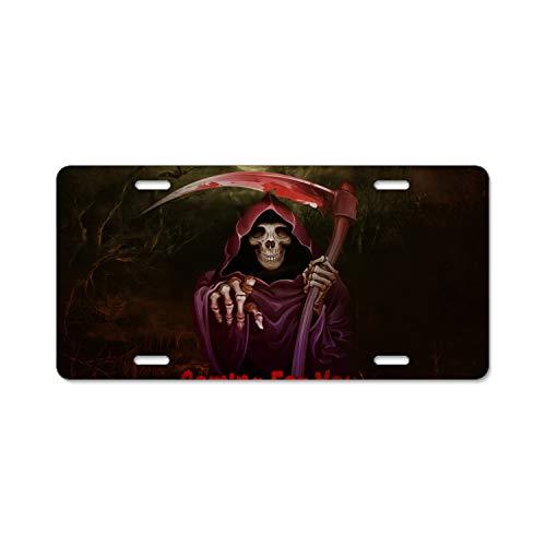 (Halloween Wallpaper License Plate Frames Aluminum Metal & Screw Kits Fine Slim Standard Size for US)