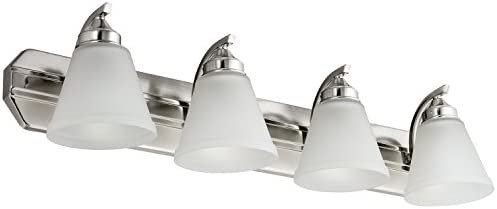 Sunlite 45058-SU Bathroom Vanity Light Fixture 30 Bell Shaped Frosted Glass, 4 Lights, Brushed Nickel Finish