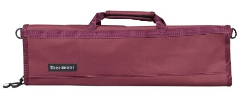 Burgundy 600 Denier Polyester - Messermeister 8-Pocket Padded Knife Roll, Burgundy