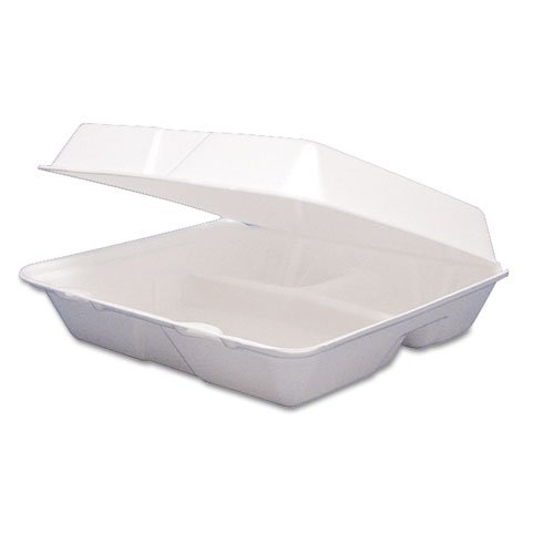 White 3 Compartment Hinged Lid (Dart 85HT3R, 8x8x3-Inch Performer White Three Compartment Foam Container With A Removable Hinged Lid, Carryout Food Disposable Containers (50))