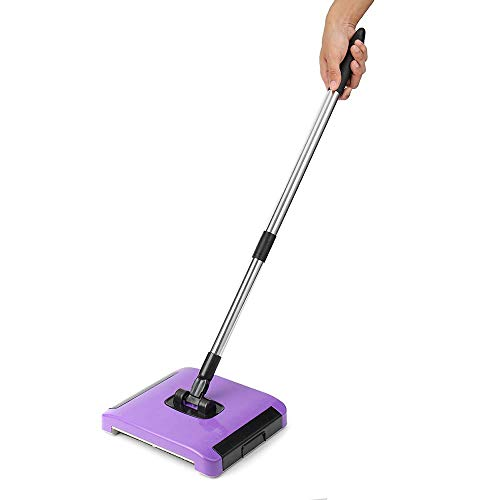 Umiwe Push Sweeper Broom, Carpet Sweeper Dry and Wet Floor Mopping and Cleaning Starter Kit 360 Rotation Sweep Brush Carpet Rug Sweeper