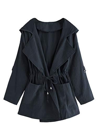 Romwe Women's Plus Long Sleeve Drawstring Waist Solid Pleat Lapel Hooded Coat Cardigan Navy 4XL