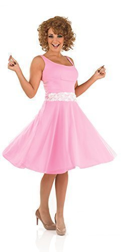 Ladies Dirty Dancing 'Baby' 80's 1980s with Wig Decades TV Film Star Celebrity Dancer Fancy Dress Costume Outfit UK 8-22 Plus Size (UK 12-14) Pink -