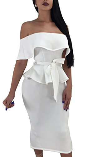 Women Elegant Off Shoulder Ruffle Cocktail Party Midi Dress Suit Bodycon Skirt Two Piece Set