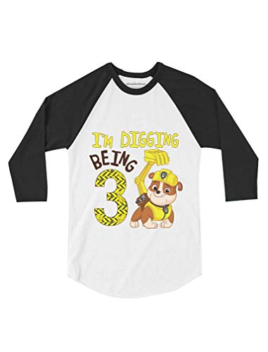 Paw Patrol Rubble Digging 3rd Birthday Toddler Raglan 3/4 Sleeve Baseball Tee 2T Black/White (Birthday Sleeve 3/4)