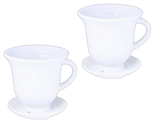 Floridus Design Set of 2 White Ceramic Mugs with Attached Sa
