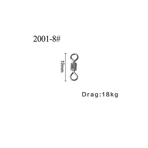 Agepoch Fishing Rolling Barrel Swivels Power Snap Set Line to Hook Smooth Connectors High-strength Corrosion Resistant Accessories Tackle Tensile Test Strength (8#-0.39''-40LB-100pcs)