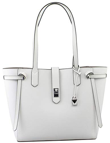 (MICHAEL KORS CASSIE LARGE BAG LEATHER TOTE SATCHEL OPTIC WHITE)
