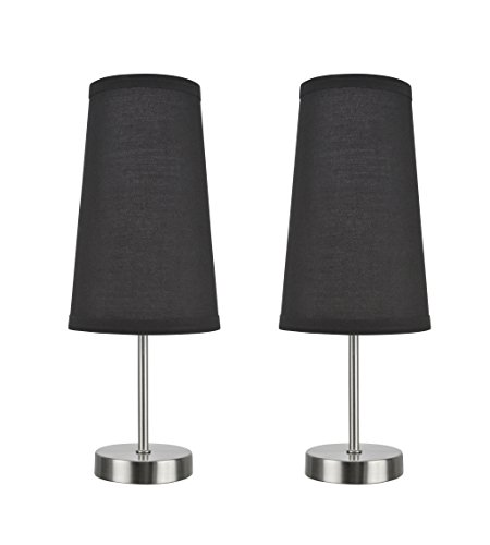 Aspen Creative 40084-3, 2-Pack Set-1 Light Candlestick Table Lamp, Contemporary Design in Satin Nickel, 14 1/4