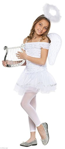Child Girls Little Angel Dress Wings Halo Headband Halloween Costume White Cute (Cute Indian Costumes For Girls)