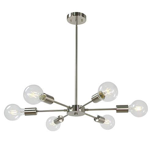 Modern Sputnik Chandelier Lighting 6 Lights Brushed Nickel Semi Flush Mount Ceiling Light Mid Century Modern Pendant Light for Living Room Bedroom Foyer Dining Room by MELUCEE