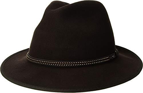 SCALA Men's Wool Felt Safari with Stitch Chocolate LG (7 1/4-7 3/4) - Scala Wool Safari Hat