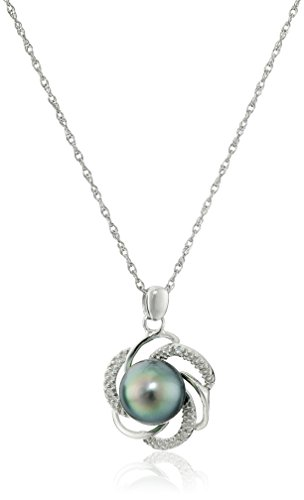 Sterling-Silver-Tahitian-Cultured-Black-Pearl-and-Diamond-Pendant-Necklace-and-Earrings-Jewelry-Set