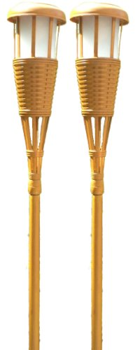 Newhouse Lighting Solar Flickering LED Tiki Torches, Bamboo Finish, 2-Pack