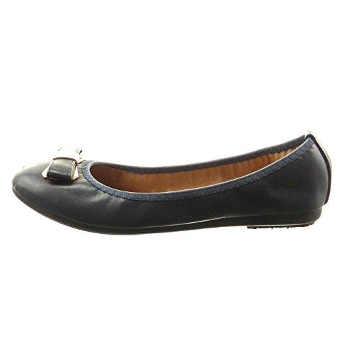 Sopily - Scarpe da Moda ballerina alla caviglia donna nodo metallico Tacco a blocco 1 CM - Nero