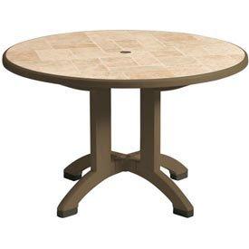 Grosfillex Folding Table, 38 In Round, Bronze Mist