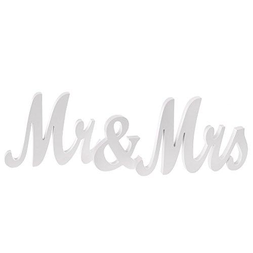 Ling's moment Medium Vintage Mr & Mrs Wooden Letters Wedding Decoration/Present (White)