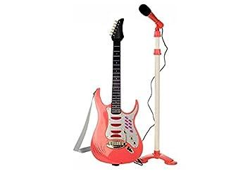 Guitarra Eléctrica de Juguete con Microphone - 6 melodias - Rojo: Amazon.es: Juguetes y juegos