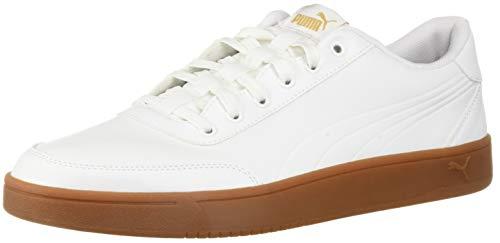 PUMA Men's Court Breaker L Mono Sneaker White-Metallic Gold, 13 M US