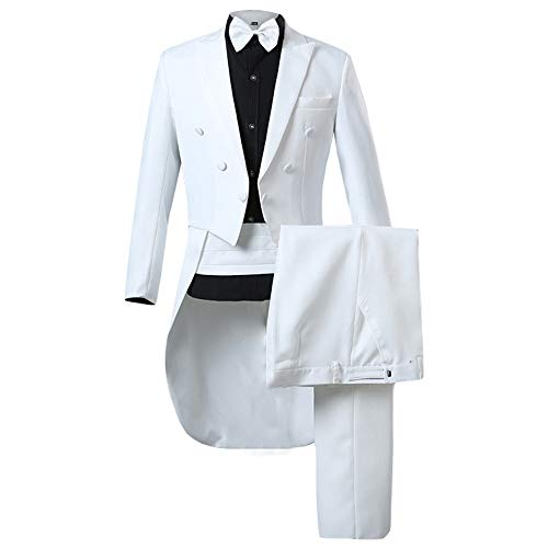 WEEN CHARM Men's 2 Pieces Tailcoat Suit Formal Dinner Regular Fit Long Tail Tuxedos White