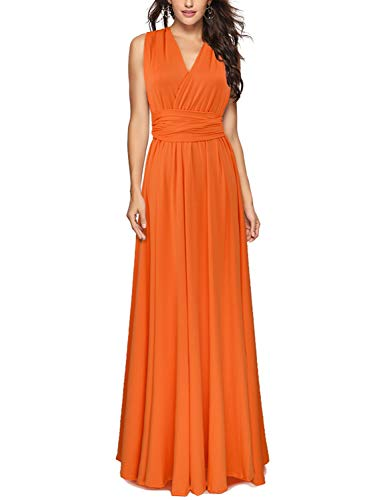 PERSUN Infinity Gown Dresses Multi-Way Strap Wrap Convertible Maxi Dresses for Womens (X-Large, Orange) (Burnt Orange Bridesmaid Dresses)
