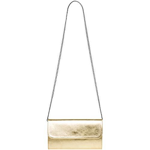 véritable pour sac CASPAR clutch femme soirée cuir métallique TL779 Sac de enveloppe en Doré nnqwAxRpZ