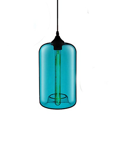 Cozyle Cafe Creative Modern Design Pendant Hanging Lamp Colorful Glass Cage Sky Blue Glass1