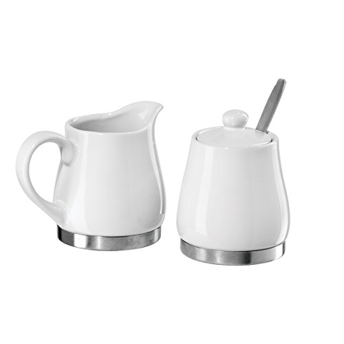 Oggi 5827.1 White Ceramic Stainless Steel Sugar and Creamer Set with Stainless Steel Spoon -