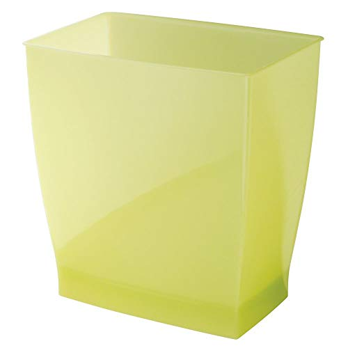 InterDesign Spa Rectangular Trash Can, Waste Basket Garbage Can for Bathroom, Bedroom, Home Office, Dorm, College, 2.5 Gallon, Lime Green