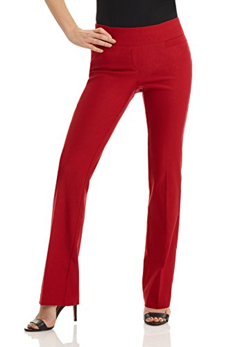 Rekucci Women's Ease in to Comfort Boot Cut Pant (6SHORT,Red)
