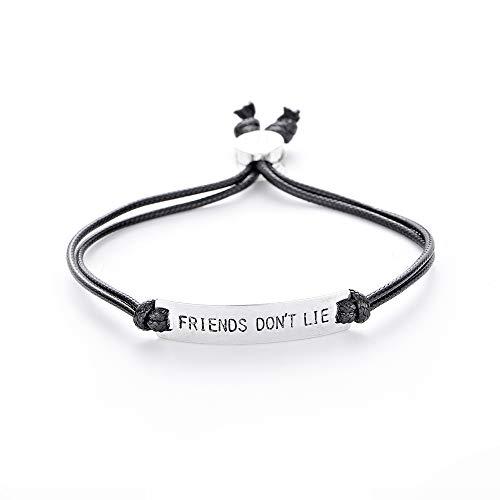 HANRESHE Friend Don't Lie Eleven Charm Bracelet Stranger Things Bracelet Handstamped Letter Men Bar Bangle Chain Bracelet for Women Stranger Things Movie Jewelry