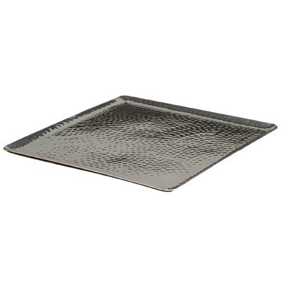 KINDWER Square Hammered Aluminum Tray, 15-Inch, Silver ()