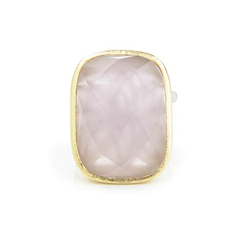Rivka Friedman 18K Gold Clad Rose Quartz Cocktail Ring + Side Accent