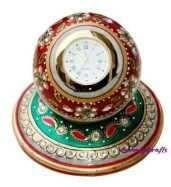 Ananyakrafts Marble Round table top Clock with base (10 cm x 10 cm x 15cm)