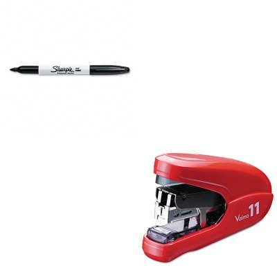 KITMXBHD11FLKRDSAN30001 - Value Kit - Max USA Corp Flat Clinch Light Effort Stapler (MXBHD11FLKRD) and Sharpie Permanent Marker (SAN30001) by Max USA Corp