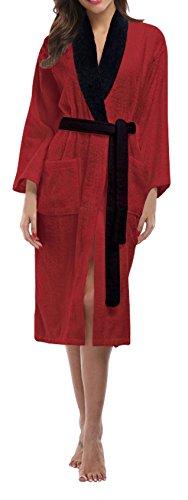 SKYLINEWEARS Women's 100% Terry Cotton Bathrobe Toweling Gown Robe Two Tone Wine XL (Two Wine Tone)
