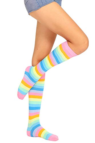 (Women Casual Striped Stocking Over Under Knee Thigh Sexy Socks Masquerade Xmas Rainbow Pink)
