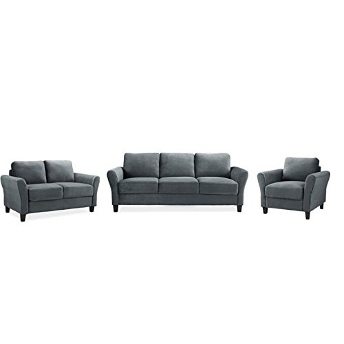 Home Square 3 Piece Sofa Set with Sofa, Loveseat, and Accent Chair in Dark Gray by Home Square