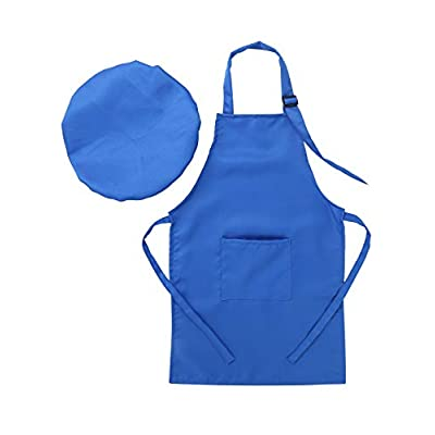 ACSUSS Kids Boys Girls Chef Apron and Hat Set Children Kitchen Cooking and Baking Costume Fancy Dress Up: Clothing