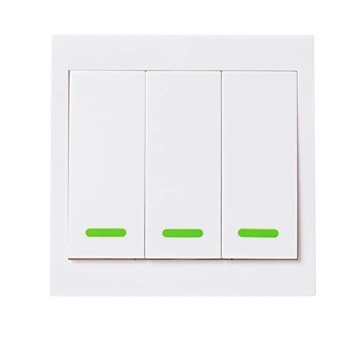 (Gyswshh 433MHz Wireless Remote Control with Stickers,Push Button Wall Light Switch Panel 3#)