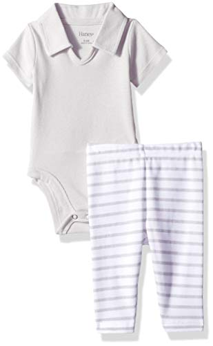 Hanes Ultimate Baby Flexy 2 Piece Set (Pant with Short Sleeve Polo Bodysuit), Grey Stripe, 6-12M