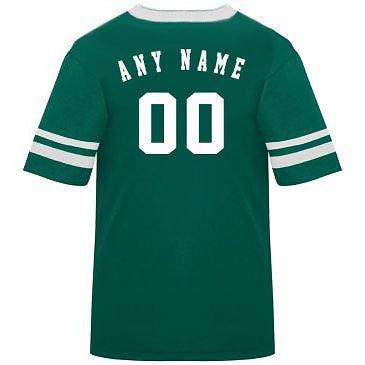 カスタマイズ名前/ Number On Back )ポリ/コットンアスレチックスポーツストライプスリーブジャージー/シャツサッカー、フットボール、カジュアル、学校。。。。21色、子供/大人サイズ8。 B00FL4PDYS Youth Large|Dark Green/White Sleeves Dark Green/White Sleeves Youth Large