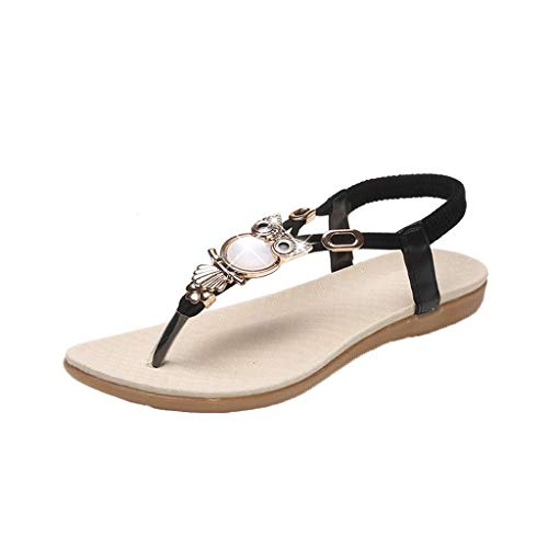 LYN Star✨ Rhinestone Sandals,Women's Flat Sandals,Jeweled Sandals Bohemian Flip Flops Summer Beach Thong Flat Shoes Black - Jeweled Floral Mini Pendant