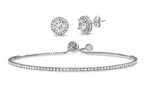 Devin Rose 2-3/8 Cttw Round Stud Earring for Women and Adjustable Tennis Bracelet for Women Set in Rhodium Plated 925 Sterling Silver made with Swarovski Crystal (White)